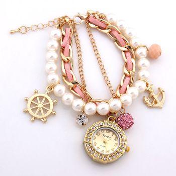 Hot Fashion Bracelet bracelets femme strass Montres Boîtier en alliage acrylique Montre analogique Vente Promotion