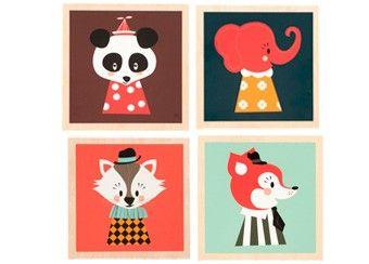 houten schilderijtje 'marionette' Ferm Living | kinderen-shop Kleine Zebra