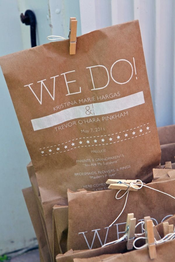 Print the program on the outside of a paper bag then fill it with confetti or glitter for guests to throw at the bride and groom
