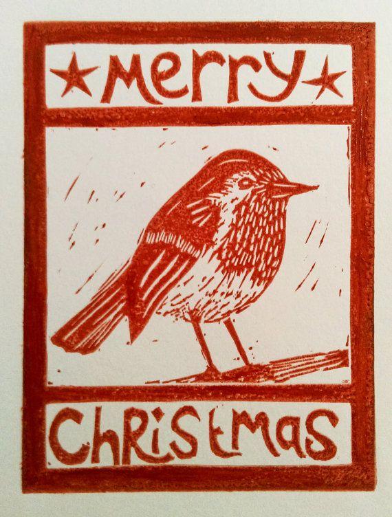 Robin Christmas Card - Handmade lino print