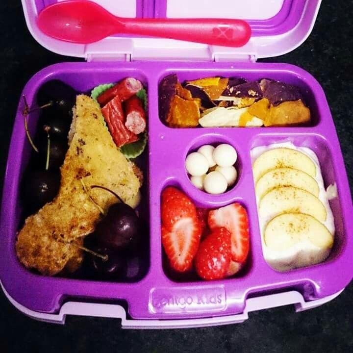 Twiggy stick, cherries, ham and cheese toasted sandwich, strawberries, apple and cinnimon yoghurt, orange and purple sweet potato and taro crisps, yoghurt covered blueberries.