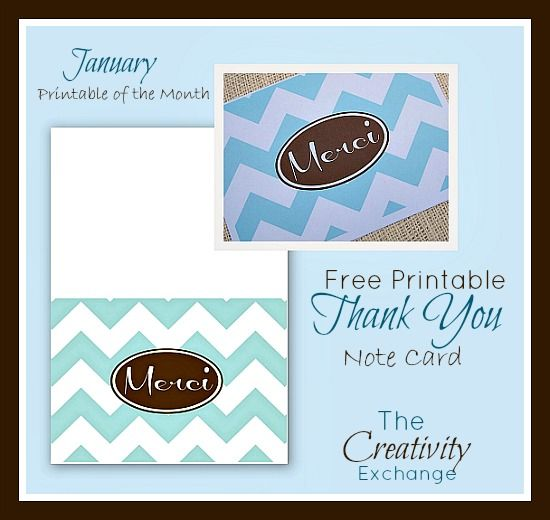 """Free Printable """"Merci"""" Thank You Note Card {January Free Printable of the Month} The Creativity Exchange"""