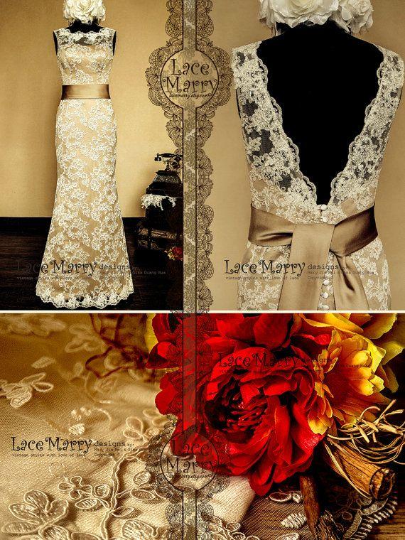 Vintage Feel Meets Stylish - Dark Champagne Underlay Full Lace Wedding Dress with Deep V-Cut Back Design - Floor Length Lace Wedding Dress on Etsy, $289.00