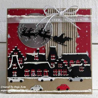 Handmade Christmas card by DT member Anja with Creatables Horizon Amsterdam (LR0494), Santa is Coming (LR0495), Moon (LR0500), Karin Joan's Christmas Song (KJ1719) and Craftables Punch Die Cars (CR1418) from Marianne Design