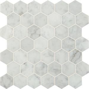 MS International, Carrara White Hexagon 12 in. x 12 in. x 10 mm Polished Marble Mesh-Mounted Mosaic Floor and Wall Tile (10 sq. ft. /case), SMOT-CAR-2HEXP at The Home Depot - Mobile  #RePin by AT Social Media Marketing - Pinterest Marketing Specialists ATSocialMedia.co.uk