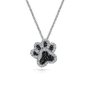 Silver Black Rhodium Plated Pave CZ Paw Print Necklace