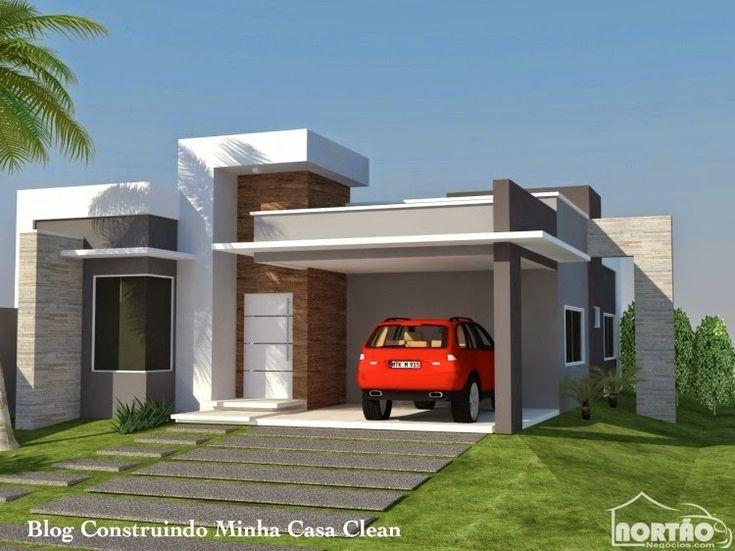 Construindo Minha Casa Clean: Fachadas de Casas Modernas com Pórtico!