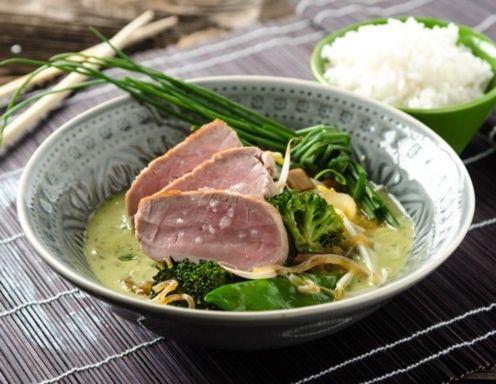 Grünes Thai-Curry mit geräuchertem Schweinefilet Rezept