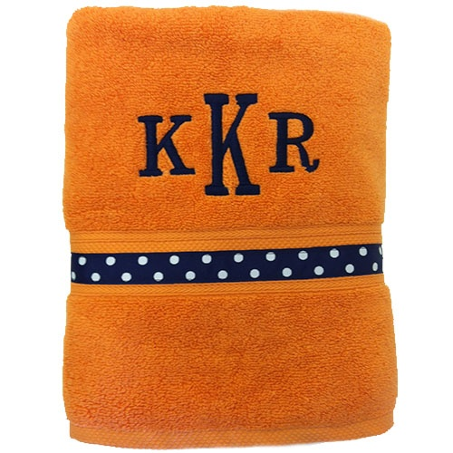 "Monogrammed Ribbon Towel      Get your college girl a monogrammed towel that they'll love & use daily! Match their school colors or choose a fun color combo for a great holiday, birthday, or ""just because"" gift!"