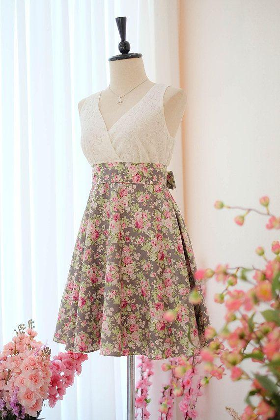 716d5dc310ca Gray dress Bridesmaid dress Floral dress Vintage dress Country dress Hippie  dress Summer dress Sundress Tea dress