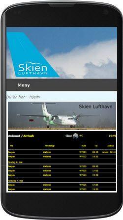 Mobilvennlig design for Skien Lufthavn basert på Joomla 3. Her på mobilskjerm.