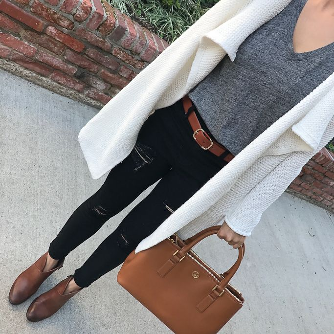 white drapey cardigan, black distressed jeans, gray tee, cognac ankle booties, camel tote, cognac belt - click the photo for outfit details!