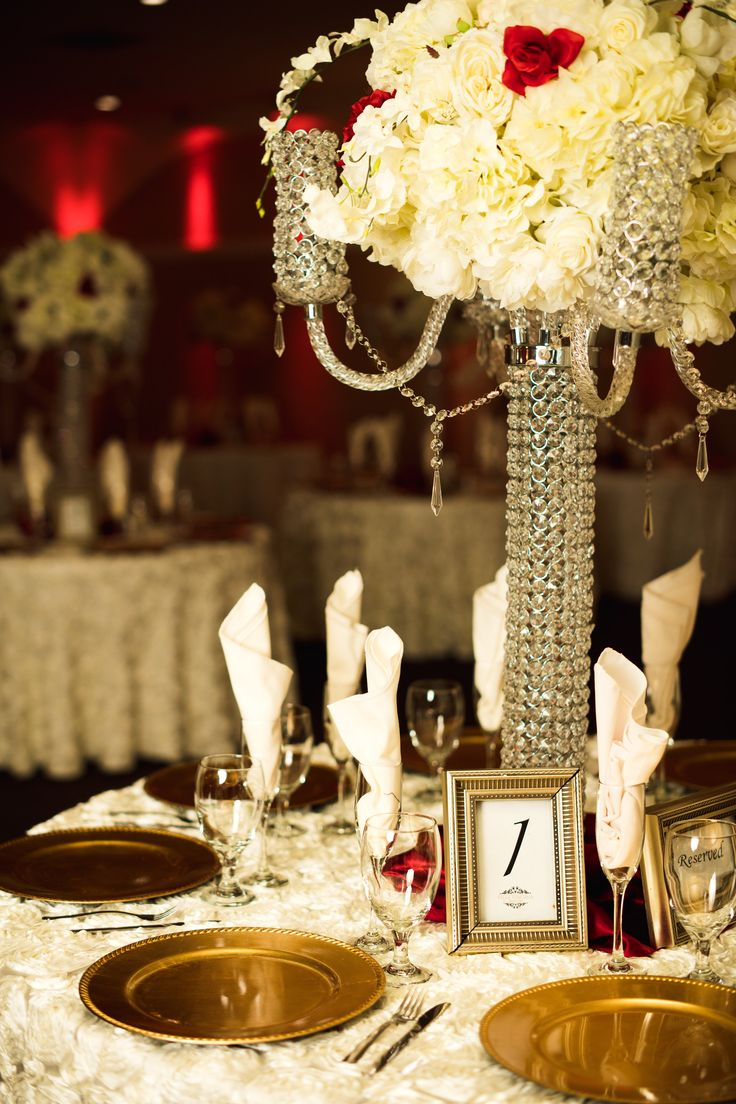 23 best centerpieces images on pinterest wedding centrepieces tall crystal chandelier with ivory and burgundy florals are so romantic arizona wedding photographers arubaitofo Image collections