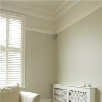Lounge with walls in shaded white below rail modern - Satin paint on walls ...