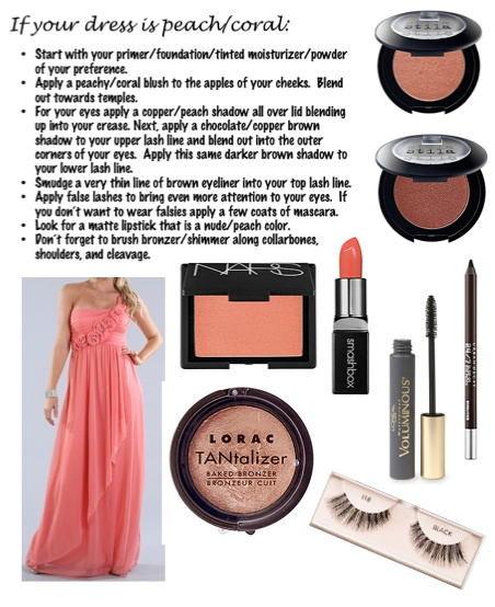 Makeup for a peach/coral dress