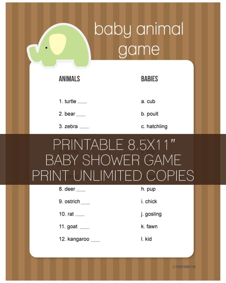 Printable Baby Animal Game Brown And Green Elephant Theme   PrintItBaby.com    Print It. Baby Shower GamesJungle ...