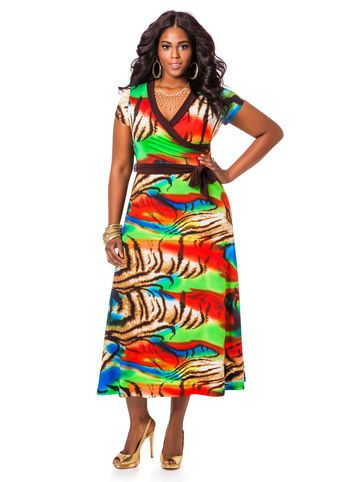 Animal Print Belted Maxi Dress
