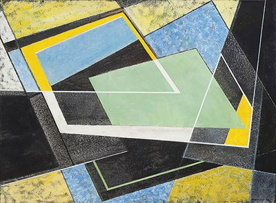 FRANK HINDER (1906-1992) Black/Yellow 1972 mixed media and collage on paper 56.5 x 78.0 cm signed and dated lower right: F.C.HINDER-72 Provenance: Gallery A, Sydney, 1975 Private collection, Melbourne Estimate: $4,500 - 6,500 Result Hammer: $5,400