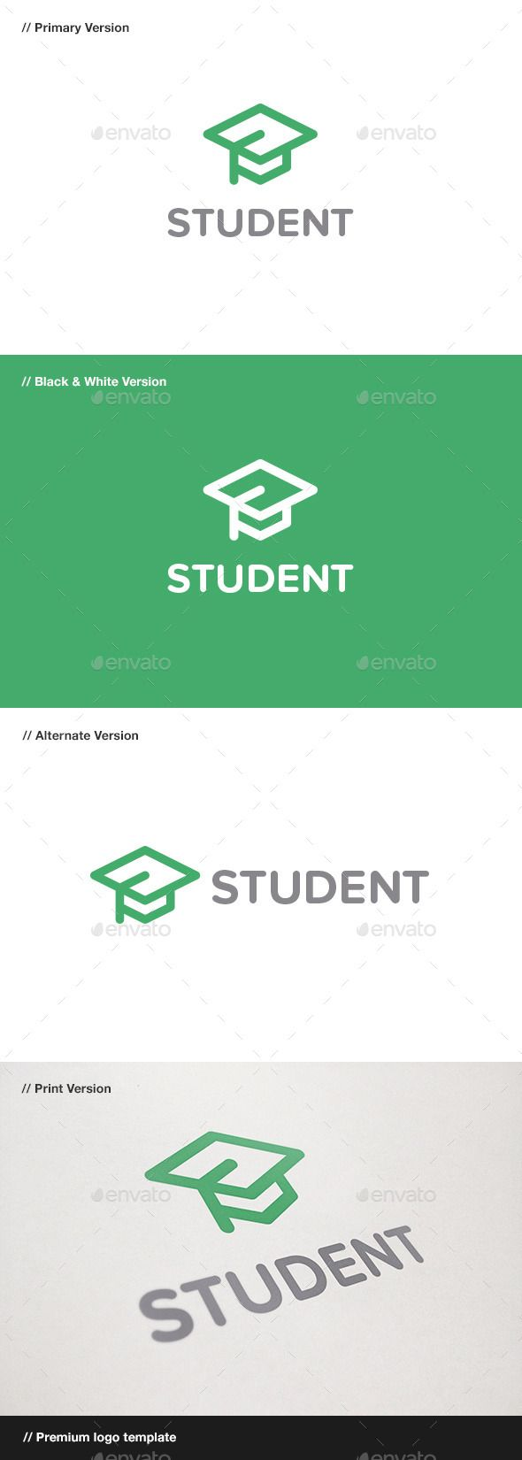 Student Logo (AI Illustrator, Resizable, CS, academy, app, application, apprentice, blog, brand, branding, cap, certified, corporate, curse, diploma, hat, high, identity, logo, logotype, professional, school, software, student, study, university, web, website)