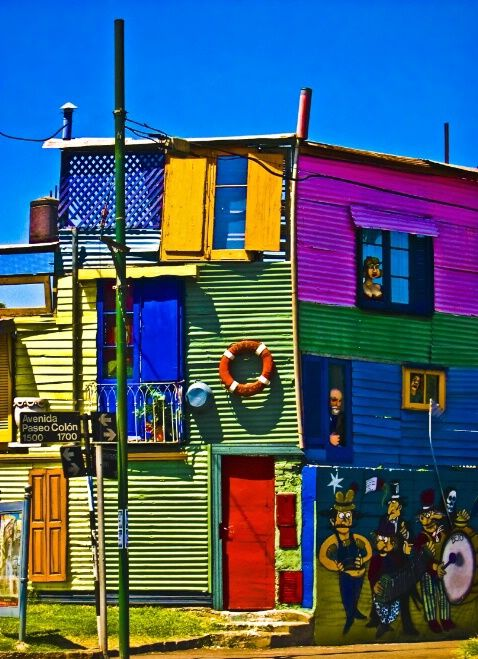 House of color in La Boca, Buenos Aires, Argentina