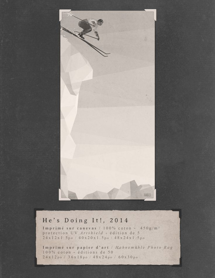 He's Doing It!, 2014. 60x30in. #print on canvas & print on #Hahnemühle Photo Rag. Limited edition. #chic #shack #shabby #vintage #skier #ski #winter #mountain / Artist is Boris Nobel / Taken from his portfolio.