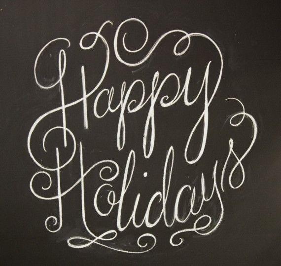 Happy Holidays #chalkboard #typography #holidays