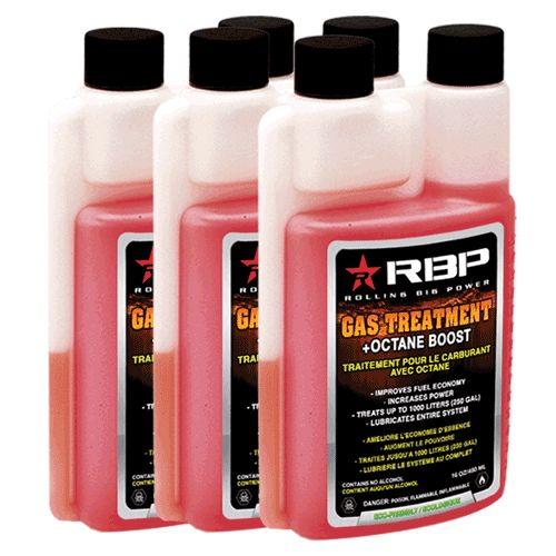#RBP #GasTreatment + #OctaneBoost has been designed for today's fuel and today's engines. Our advanced additive formula is quickly becoming the most desired #GasolineAdditive available. Trusted by fleets, race teams, and professionals, RBP Gas Treatment will improve your economy (10+%), increase power, prevent engine wear and reduce carbon buildup. Show your ride the care it deserves with a shot of RBP in every tank of gas. 1oz treats up-to 50L of gas – each bottle will treat 800L of fuel.