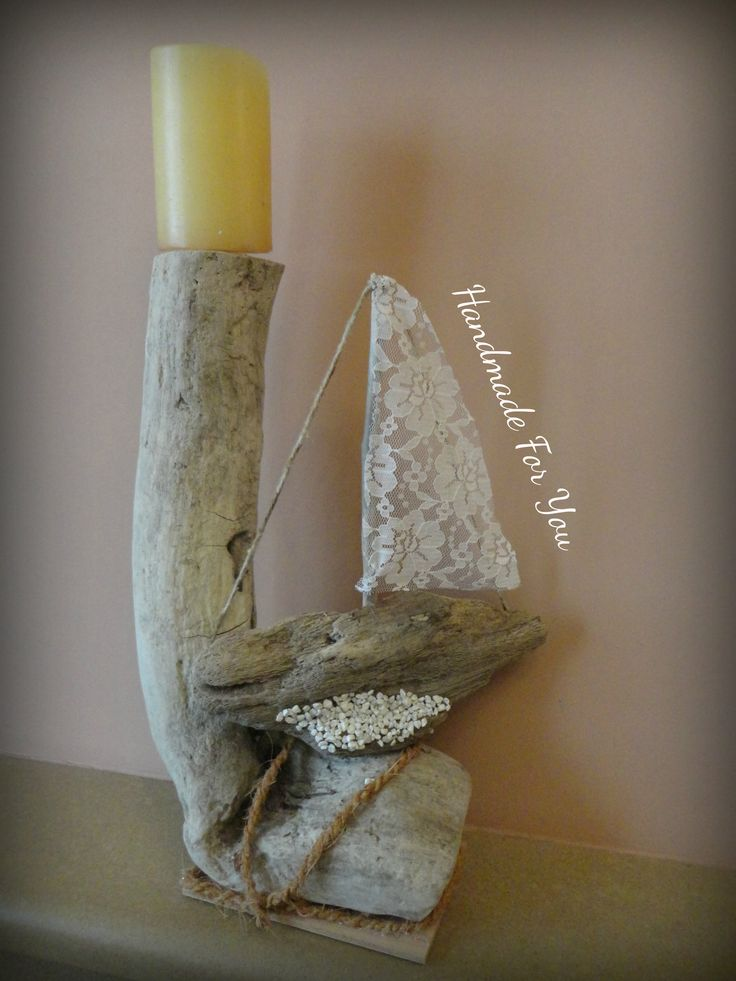 Driftwood candle holder, driftwood ship, Nautical Ocean Decor. Κηροπήγιο απο θαλασσόξυλο.