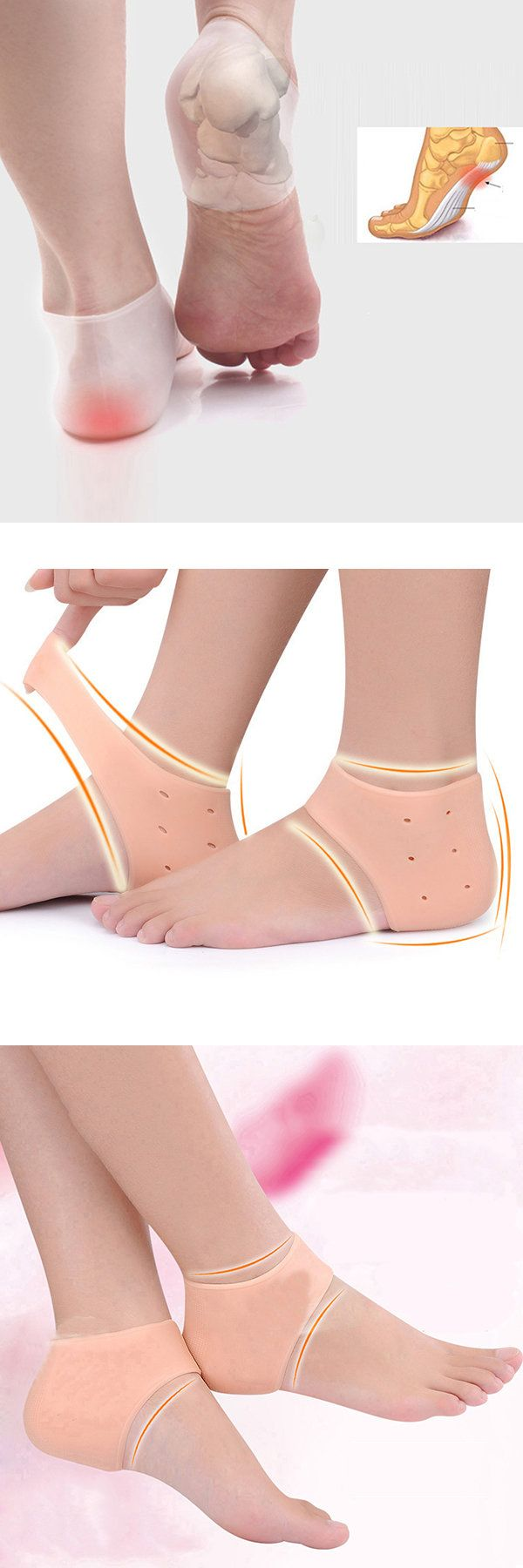 Men Women Silica Gel Heel Protector Good Elastic Breathable Heel Pain Remover Full Foot Care