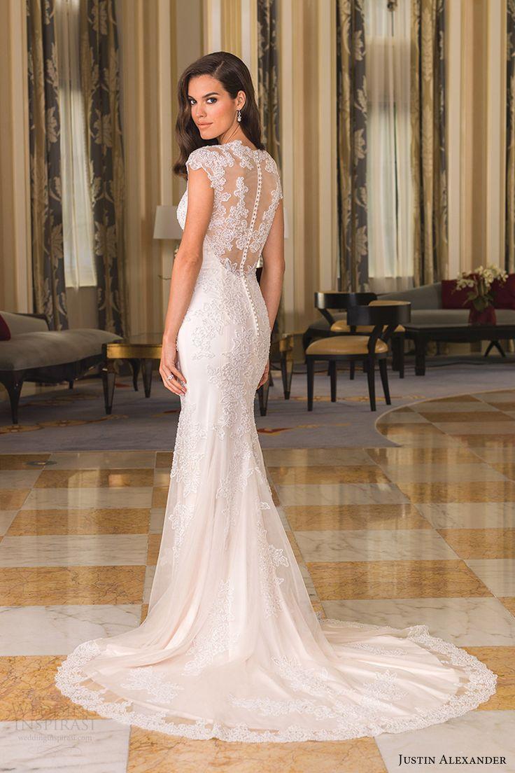 Sheath Wedding Gown Pattern : Bridal fall cap sleeves queen anne neckline sheath wedding dress