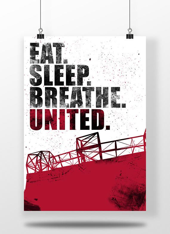 Manchester United A3 Football Poster Eat. Sleep.