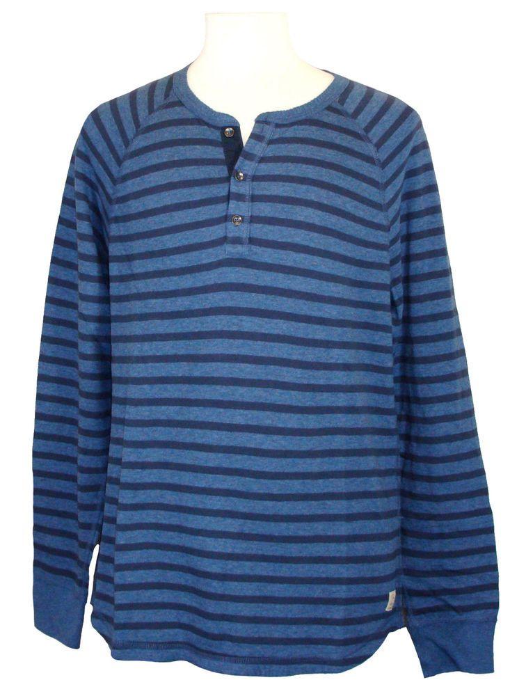 Lucky brand mens shirt henley knit cotton long sleeve for Navy blue striped long sleeve shirt