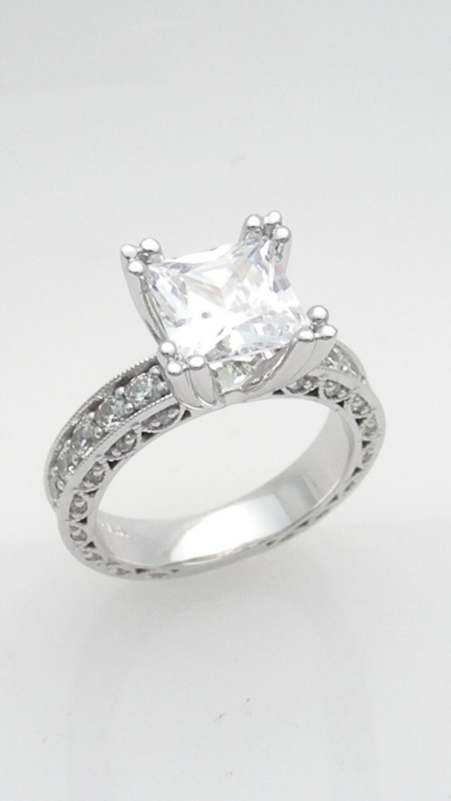 4.00 carat princess cut custom made engagement ring. 5.70ct tw.  www.abrahamsjewellery.com