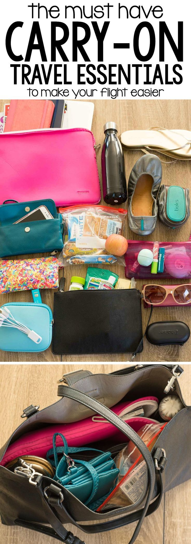 The 10 MUST HAVE Carry On Travel Essentials that will make your flight easier. Every woman traveler needs these 10 things!!