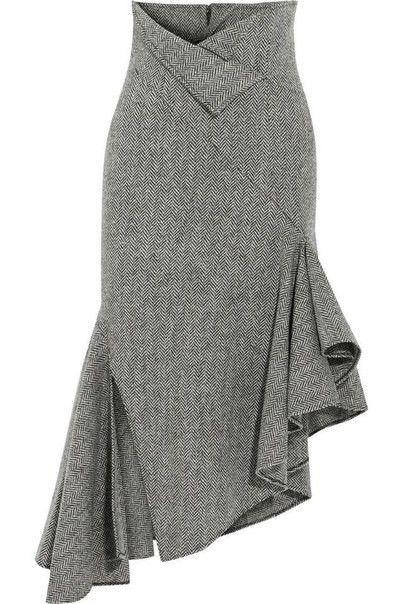 Grey tweed mermaid skirt with assymetrical side ruffles