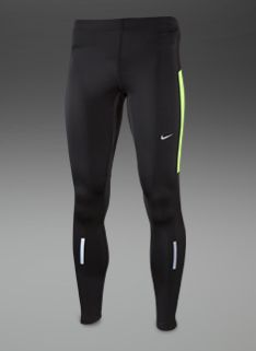 Nike Element Thermal Tights - Mens Running Clothing - Black-Volt-Matte Silver