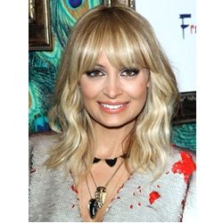 nicole richie blonde wavy shoulder length hair with wispy bangs hairstyle
