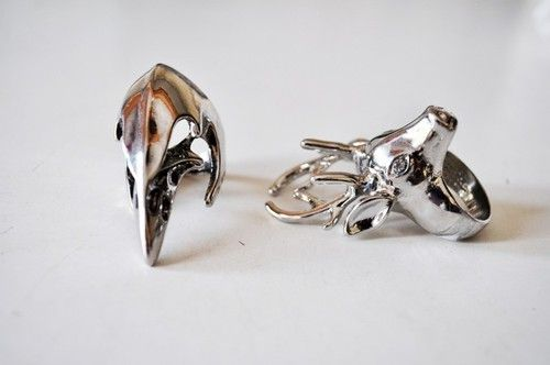 Silver #rings #animals #jewellery #silver #deer #crow #skull #bird #ring
