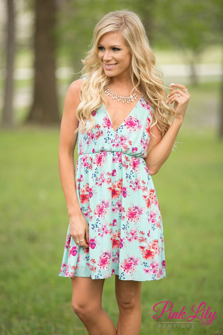 For The First Time Mint Floral Dress CLEARANCE - The Pink Lily