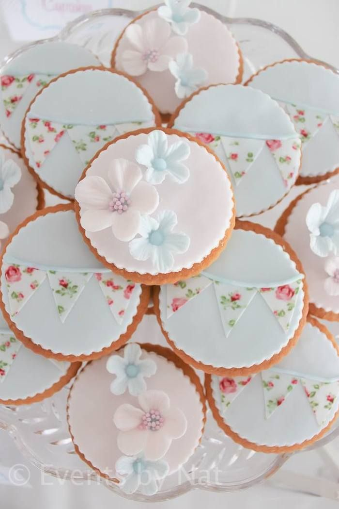 In love with these pennant flag cookies! Shabby Chic First Birthday Party with Lots of REALLY CUTE IDEAS via Kara's Party Ideas Kara Allen KarasPartyIdeas.com #shabbychic #girlparty...