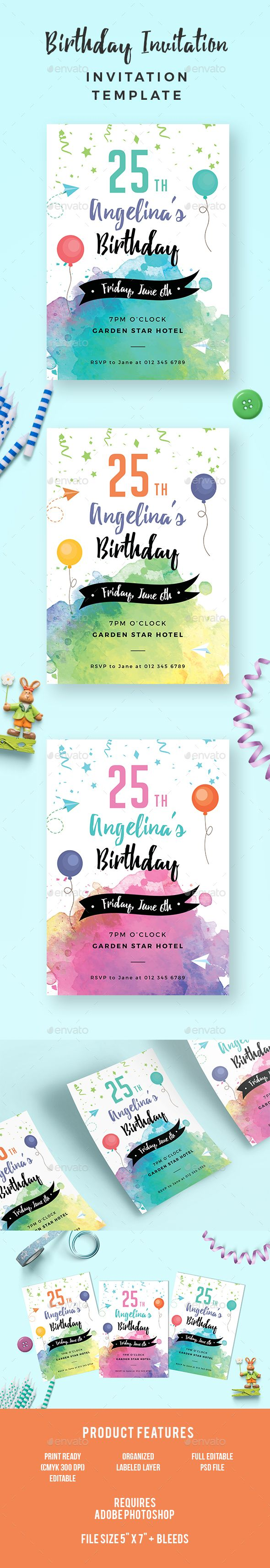 25 unique Birthday invitation card template ideas on Pinterest