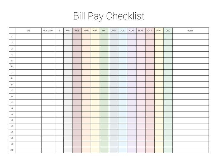 Monthly Bill Payment Checklist Printable With Images Bill