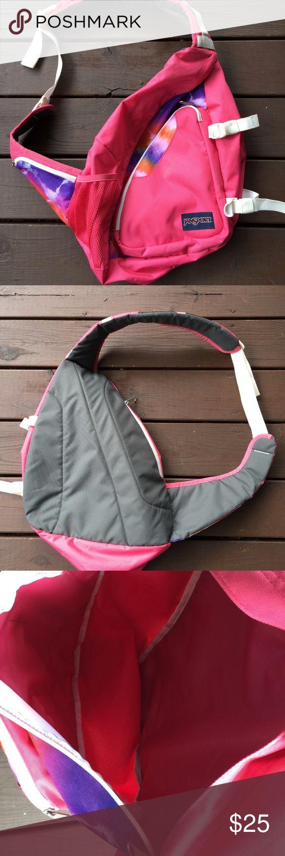 Jansport one shoulder sling backpack. Jansport one shoulder sling backpack. This is a great pink backpack very clean. Jansport Bags Backpacks