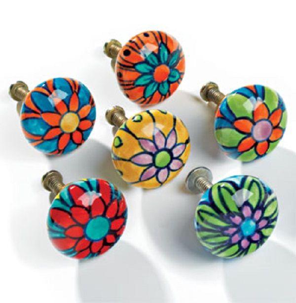 Hand Painted Ceramic Flower Drawer Pull Door Handle Knob Home Fair Trade New