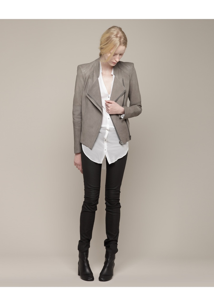 that jacket. yum.Complete Outfit, Helmut Lang, Grey Blazers, Lang Leather, Leather Jackets, Covet Items, Skinny Pants, Business Casual, Fit Leather