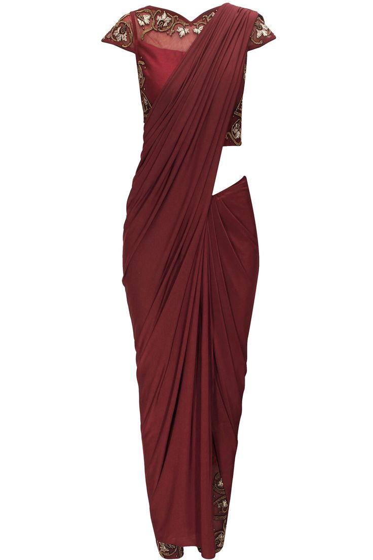 Burgundy sari with embroidered blouse and pants available only at Pernia's Pop-Up Shop.