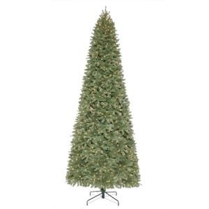 Martha Stewart Living, 12 ft. Pre-Lit Downswept Wimberly Slim Spruce Artificial Christmas Tree with Clear Lights $499.00