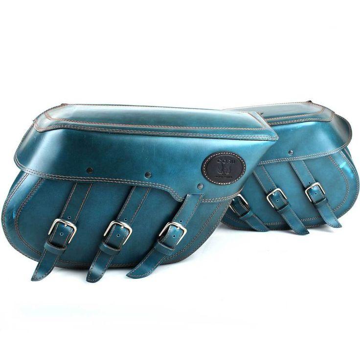 Satteltaschen mit Gepäckrolle Blaues Leder passend  Chopper Motorrad Gebraucht