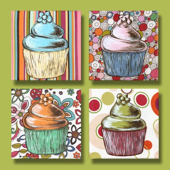 #56( ONE CUPCAKE):Strawberry Swirl Cupcake Painting by ldavis711