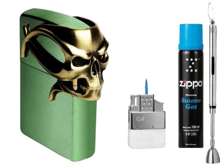 Zippo Gothic Skull of Chameleon Limited Edition XXXX/1000 & Gas Set JETFLAME + R-S Stabfeuerzeug Chrome